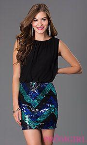 Buy Short Sleeveless Blouson Dress with Sequin Skirt at PromGirl