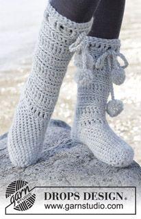 "Arctic - Zapatillas de ganchillo DROPS en ""Eskimo"". Talla 35 - 43 - Free pattern by DROPS Design"