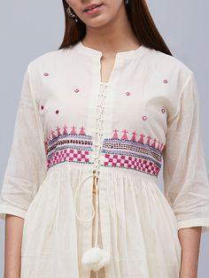 Off White Hand Embroidered Muslin Cotton Kurta - Women's fashion clothing Embroidery On Kurtis, Kurti Embroidery Design, Hand Embroidery Dress, Kurti Sleeves Design, Kurti Neck Designs, Blouse Designs, Indian Designer Outfits, Indian Outfits, Designer Dresses