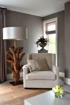 Prachtige lamp !!!!!☆Perfecte combi van hout - grijstint en offwhite - stijlvol