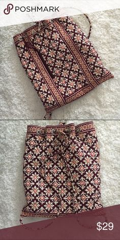 VERA BRADLEY red and brown drawstring bag Perfect condition. 15 by 13 inches Vera Bradley Bags Shoulder Bags