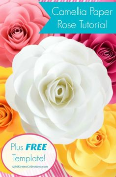 Free paper rose template. Wedding paper roses