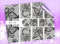 1X  Nail Sticker FRUIT LEAF MAPLE BLACK FLOWER DOG PUPPY STAR MOSAIC RU037-042