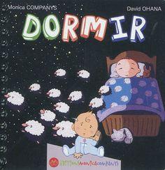 Dormir / Monica Companys, David Ohana. Un mot avec son illustration et sa représentation en langue des signes en double page. 12 signes sont ainsi déclinés sur le thème : dormir.