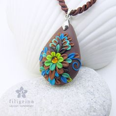 Polymer clay filigree applique technique, handmade jewelry, pendant, lime green & blue & chocolate brown, vintage, wedding jewelry, flowers, floral jewelry, teardrop shape, pear shape, paisley CHOCOLATE DREAM handmade teardrop pendant by Filigrina, €18.39