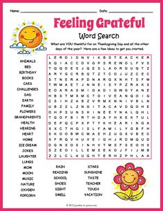 Free Printable Gratitude Word Search What are you thankful for on Thanksgiving Day and all the other days of the year? Our gratitude word search will help get you started. Word Puzzles For Kids, Free Word Search Puzzles, Free Printable Word Searches, Kids Word Search, Find A Word Printable, Word Puzzles Printable, Word Search Games, Crossword Puzzles, Word Games