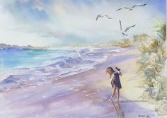 Seascape Painting - Testing The Waters by Laura Lee Zanghetti