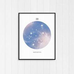Aquarius Print  Zodiac art print Aquarius Art Birthday