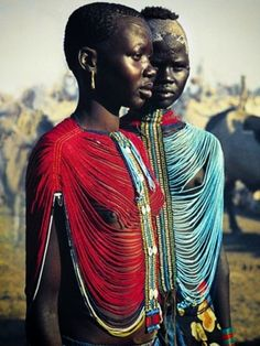 Members of Sudan's Dinka Tribe, #Africa, #Colorful, #Costume, #JewelleryTraditional