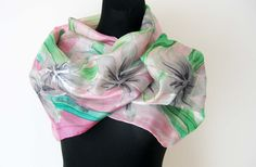 Hand painted light pink and green silk scarf. by TiiuHandCraft