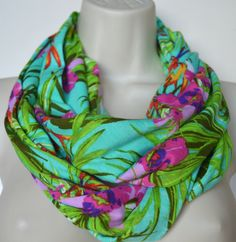 Flower pattern infinity scarf flowers printed by byJuliasDesigns