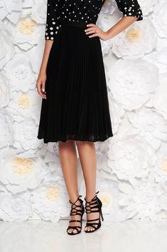 StarShinerS black elegant cloche skirt with medium waist voile fabric folded up, inside lining, voile fabric, folded up, side zip fastening
