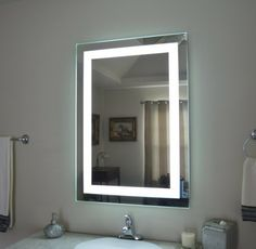 Front-Lighted LED Bathroom Vanity Mirror: x - Rectangular – Mirrors and Marble Bathroom Mirror Lights, Lighted Vanity Mirror, Bathroom Mirror Cabinet, Led Mirror, Bathroom Light Fixtures, Mirror Cabinets, Bathroom Vanity Lighting, Mirror With Lights, Vanity Mirrors