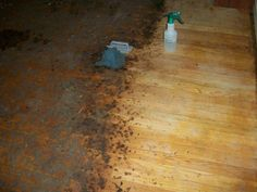 To remove years worth of carpet glue and ground in dirt on a hardwood floor before sanding....use 50% ammonia, mask, gloves, and plastic scrub brush. Spray or pour, let sit 5 min, then scrub. Hard work but worth the effort if you have more time than money.