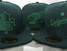 Custom Tonal Dark Green 59Fifty Fitted Cap by NEW ERA x NBA, MLB, NHL