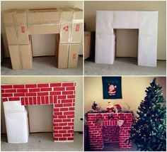 Make a fake fireplace out of cardboard boxes! Great project to do with your kids.