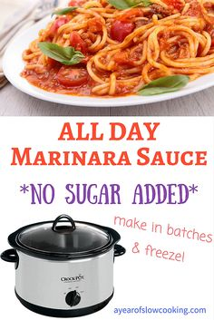 Use your crockpot slow cooker to make big batches of homemade no sugar added pasta marinara sauce. This easy method can use either canned or fresh tomatoes and you have the option of cooking the lean ground meat directly in the sauce, or adding it later to keep it vegetarian. This is a Whole Foods / Whole 30 friendly recipe that is naturally gluten free.