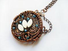 Photo locket unique pendant wire wrapped by MargoHandmadeJewelry