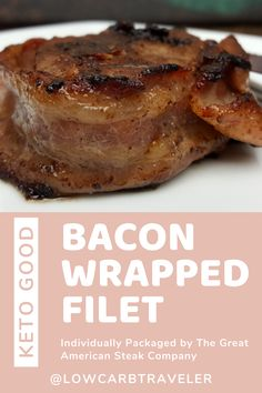 This little beauty is a Bacon Wrapped Filet that comes individually packaged by The Great American Steak Company. They're great for making a quick meal for one! Check out the post for more low carb food ideas, fun snacks & simple LCHF meals. Group Recipes, Group Meals, Low Carb Keto, Low Carb Recipes, Bacon Wrapped Filet, Challenge Group, Food Diary, Meals For One