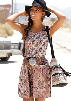 Shop Rose Printed Paisley Mix Mini Dress from LASCANA clothing and get ready for fun. Boho Fashion Summer, Boho Summer Dresses, White Dress Summer, Summer Dresses For Women, Summer Fashions, Dressy Dresses, Beach Dresses, Paisley, Sexy Outfits