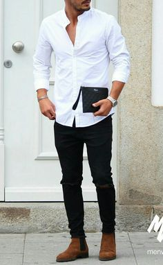 White shirt outfit ideas for men men's street style en 2019 Stylish Mens Outfits, Casual Outfits, Men Casual, Casual Menswear, Look Casual, Casual Styles, Smart Casual, Mode Outfits, Fashion Outfits