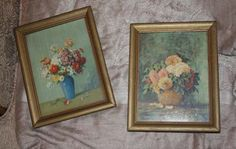 "Pair of Vintage Floral Prints Framed from 1947 9.25""x7.25"""