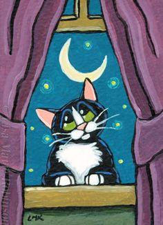 Original-Tuxedo-Cat-ACEO-by-Lisa-Marie-Robinson-Fireflies-Moon-Animals