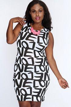 White Black LOVE Print Sleeveless Sexy Bodycon Dress  Plus size clubwear Plus size party dress Cute sexy dress Plus size mini dress Plus size fashion for women  Best from Pinterest http://plussizeonly.net/clubwear/
