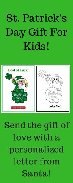 How do celebrate St. Patrick's Day with the kids? Send a letter from Santa! Normally Santa is only seen at Christmas, but with us he can be part of the family all year. We have combined a trusted figure with monthly themes to send positive words of encouragement (form emails are sent after purchase) and inspire children to be their best. Extend his magic and deliver it to the mailboxes of the child you love. #stpatricks #giftsforkids #kids #nieces #nephews #aunts #moms