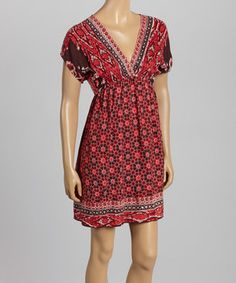 Look at this #zulilyfind! Angie Apparel Red Tribal V-Neck Cape-Sleeve Dress by Angie Apparel #zulilyfinds