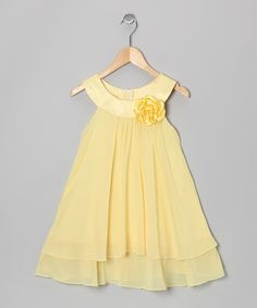 Loving this Yellow Flower Yoke Dress - Toddler & Girls on #zulily! #zulilyfinds