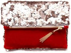 red sequin tassel clutch