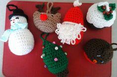 Set of six crochet Christmas Tree decorations