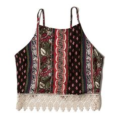 Abercrombie & Fitch Patterned Tie Back Crop Cami ($23) ❤ liked on Polyvore featuring tops, shirts, crop tops, tank tops, black and red pattern, lace cami tank, cropped tops, all over print shirts, lace cami top and lace camisole