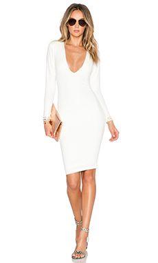 Nookie Bombshell V Neck Dress in Ivory