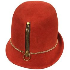 Preowned Museum Quality Yves Saint Laurent Zipper Fedora.  Mod. Early... ($625) ❤ liked on Polyvore featuring accessories, hats, multiple, red fedora hat, red fedora, band hats, wide fedora hat and bear hat