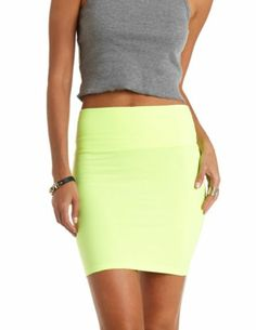 Neon High-Waisted Bodycon Mini Skirt: it's so cute but I'm so tall it would be too short I like wouldn't be able to sit down :( sometimes I hate being tall Staple Wardrobe Pieces, Spring Summer Fashion, Charlotte Russe, Fashion Forward, High Waisted Skirt, Cool Outfits, Short Dresses, Mini Skirts, Treasure Chest