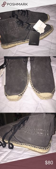 Zara Leather Booties 💕 Super cute grey leather with fringe. Canvas lined soles- new with tags. Never worn! Z#0435 Zara Shoes Ankle Boots & Booties