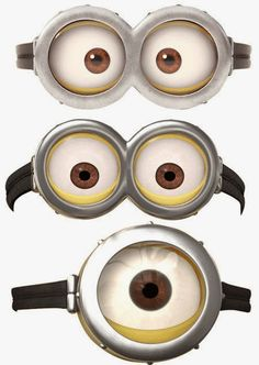 Gafas de minions para imprimir Los minions Dave, Stuart y jorge sus ojos con gafas en una imagen para imprimir. Podrás sorprender con ori...
