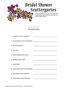 Bridal Shower Scattergories (we could come up with our own version of it) Bridal Games, Bridal Shower Games, Bachelor Party Games, Beach Bridal Showers, Baby Wedding, Wedding Inspiration, Wedding Ideas, Wedding Stuff, Shower Party