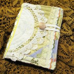 Fabric journals from vintage fabric and lace.