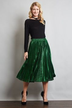 Women Retro Elegant Metallic Pleated Knee Length A-Line Midi Skirt Metallic Pleated Skirt, Pleated Midi Skirt, Lace Skirt, Pleaded Skirt, Eid Dresses, Modest Outfits, Modest Clothing, Style And Grace, Fashion Wear