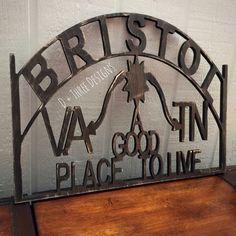 Bristol Tennessee Virginia Wooden Sign Decor by DPlusThreeDesigns