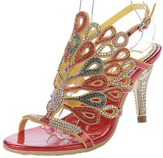 YooPrettyz Peacock Pattern Crystal Stud Sandal Luxurious Ankle Strap Wedding High Heels *** Be sure to check out this awesome product.