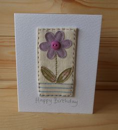 Hand stitched card from Lindsey Brandish on Etsy - Crochet Projects Fabric Cards, Fabric Postcards, Paper Cards, Diy Cards, Hand Made Greeting Cards, Making Greeting Cards, Greeting Cards Handmade, Embroidery Cards, Free Motion Embroidery