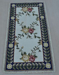 60x120cm Lattice Design Handmade Wool Portuguese Needlepoint Ivory Area Rug 2126
