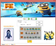 Our team presented hundred percent working Despicable Me:Minion Rush Extreme Trainer Tool Hack for Android/iOS operating system also compatible with Windows/Mac/Linux systems which gives you unlimited Banana,Tokens and many others like unlocking characters and also a live Despicable Me 2 movie.You can be sure you will be the best player and entertained player in the game.  View more here: http://smarth4ck.blogspot.com/2013/07/despicable-me-minion-rush-hack-for.html