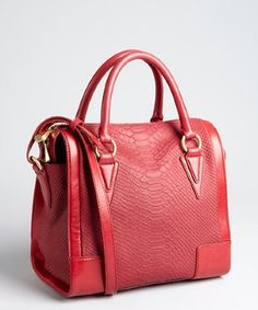 Pour la Victoire red snake embossed leather 'Roma' satchel