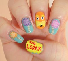 Dipped in Lacquer: Dr.Seuss The Lorax Nail Art