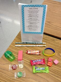 Welcome Back Poem Goodie Bag for the beginning of the school year...I would change a little, but love some of the ideas...especially the Laffy Taffy!